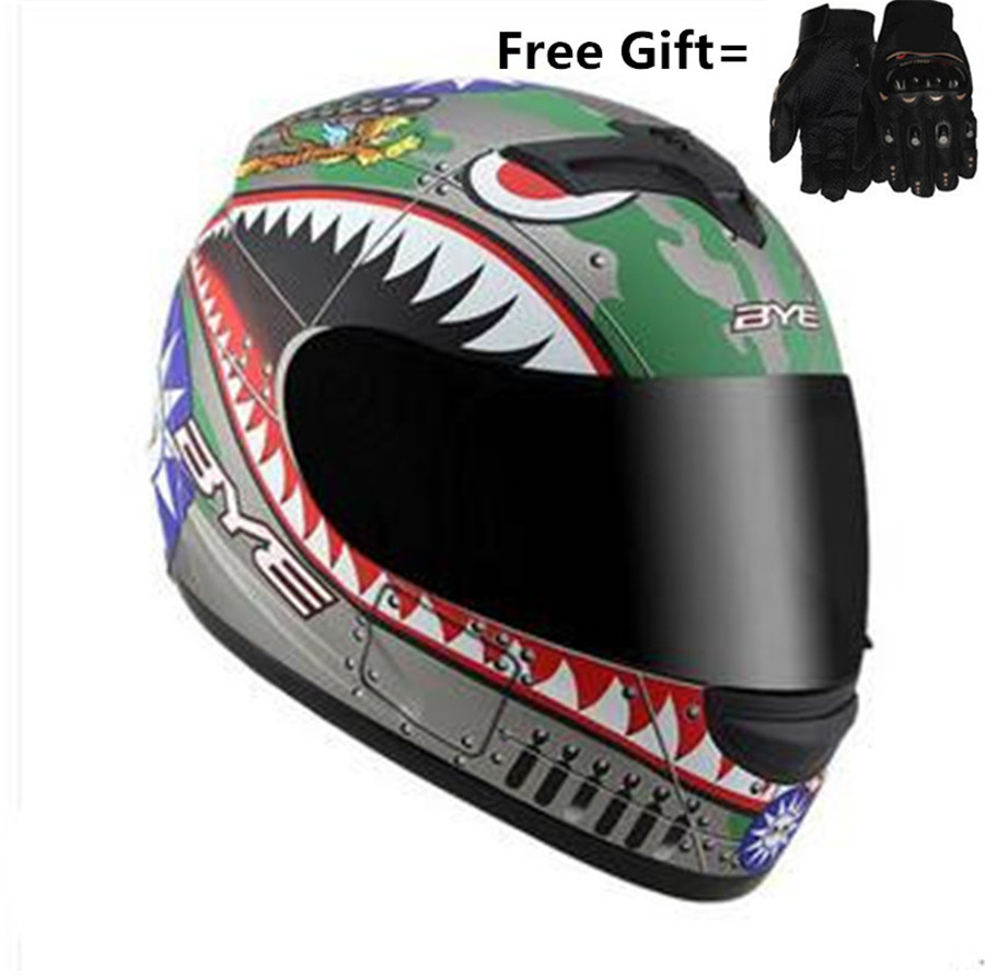 FREE Gift gloves BYE LOGO Full Face Black Street Bike Motorcycle Helmets [DOT] (Small, Matte Black) S M L XL XXL size scoyco a012 xl sporty full finger motorcycle gloves black red pair size xl