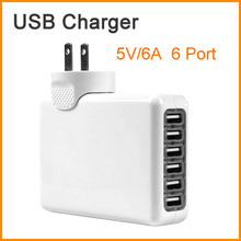 A18 5V/6A 6 Port USB Charger Universal USB Wall Charger AC Mobile Phone Charger For Home Travel With US UK EU AU Plug Optional
