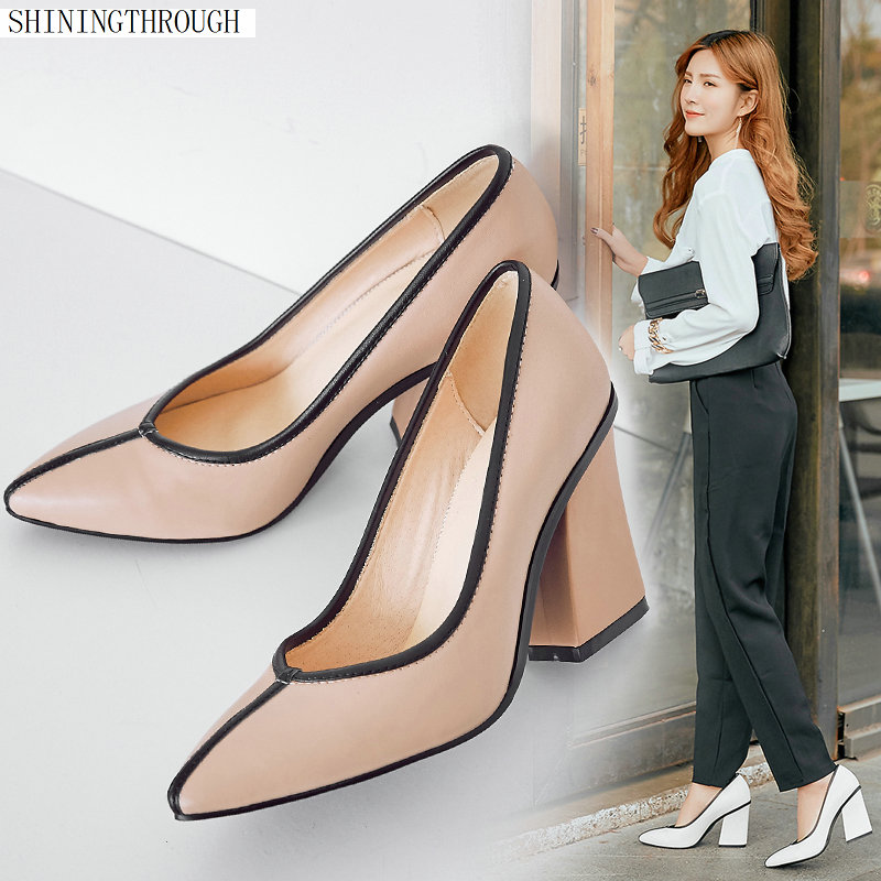 Sweet Female High quality Genuine leather office shoes women spring summer square heeled dress party shoes