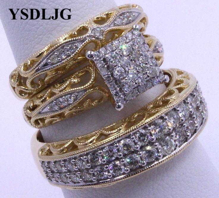Ysdljg Wedding Gold Filled White Zircon Fn Trio His Her Bridal