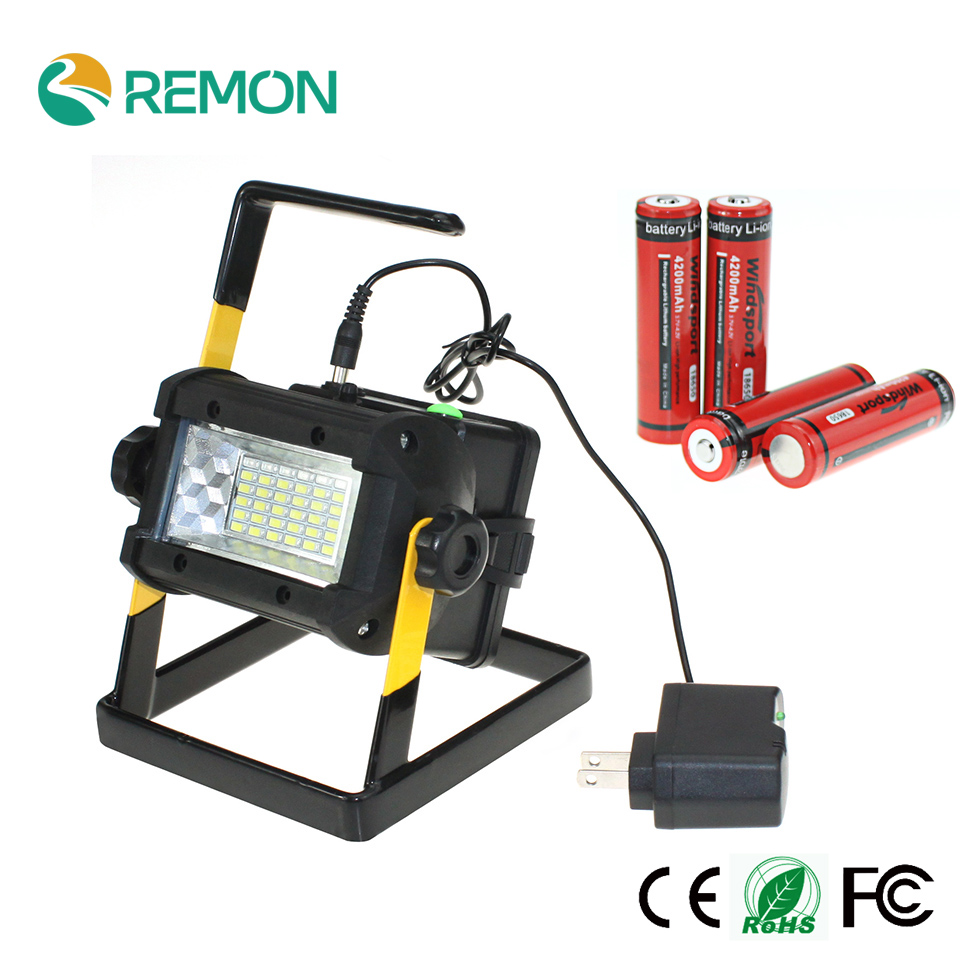 Rechargeable Floodlights 36 LED Flood Light Lamp for Outdoor Camping Work Light with Charger and 4