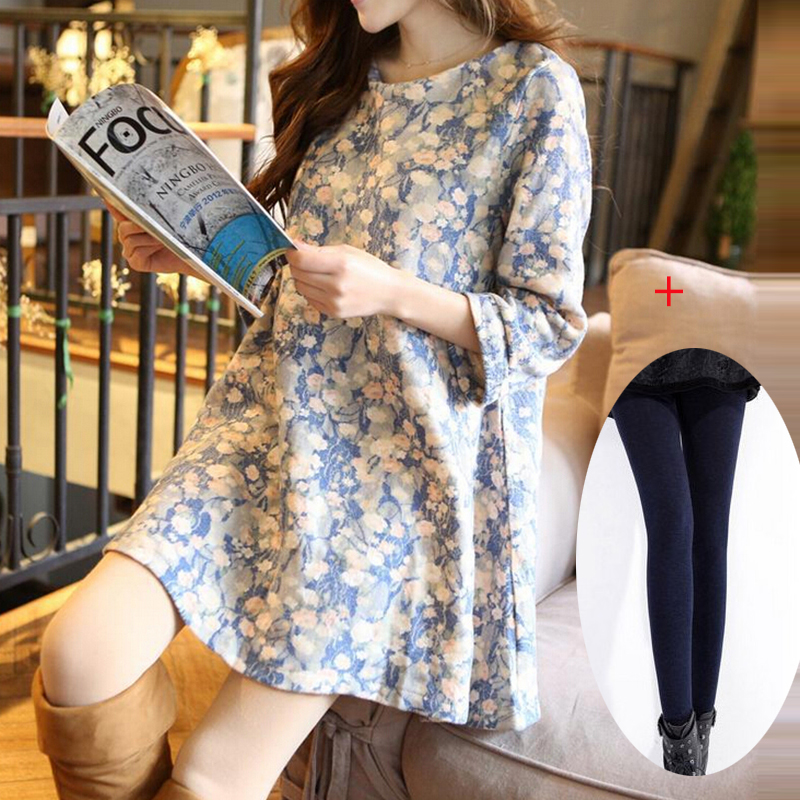 Maternity clothing autumn and winter one piece dress floral print dress maternity clothes maternity dresses