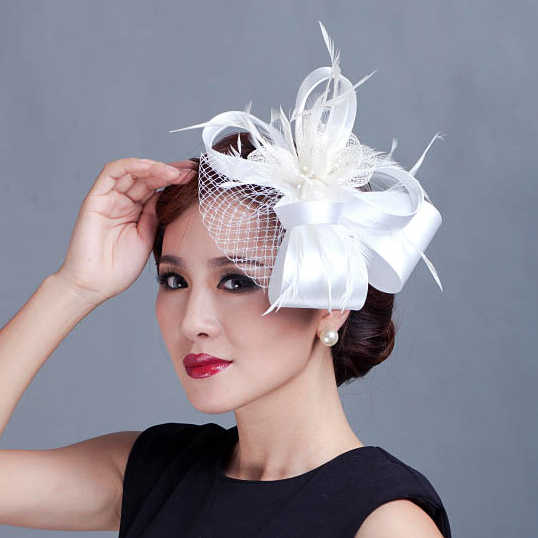 a4c2f86822728 ... Women Champagne Feather Flower Fascinator With Bow Ladies Hair  Accessories Wedding Party Floral Headband Hairpin Hair ...