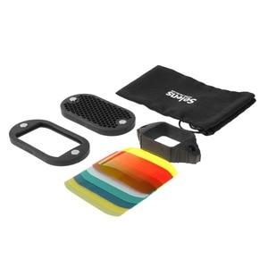 Image 5 - Selens flaş Speedlight petek izgara difüzör reflektör ile manyetik jel bant 7 adet filtreler flaş aksesuarları kiti