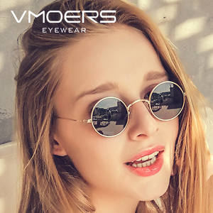 VMOERS Female Small Round Sunglasses Women Retro Metal Shades for Women Female Brand Fashion Sun Glasses for Women Vintage 2019