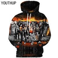 YOUTHUP 2018 Hooded Hoodies Men 3D Print KISS Band Series Player Rock Men Sweatshirts 3D Iron