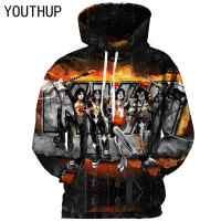 YOUTHUP 2018 Hooded Hoodies Men 3D Print KISS Band Series Player Rock Men Sweatshirts 3D Iron