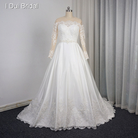 Ball Gown Boat Neck Long Sleeve Wedding Dresses 2016 New Have Pocket Lace Appliqued Bridal Gown
