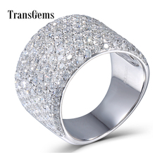 Transgems 3.3CTW Carat Moissanite Luxury Band Lab Grown Diamond Solid 14k 585 White Gold For Women