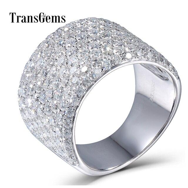 Transgems 3.3CTW Carat Moissanite Luxury Band Lab Grown Moissanite Diamond Solid 14k 585 White Gold For Women