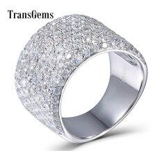 Transgems 3.3CTW Carati Moissanite Fascia di Lusso Lab Grown Moissanite Del Diamante Solido 14k 585 Oro Bianco Per Le Donne