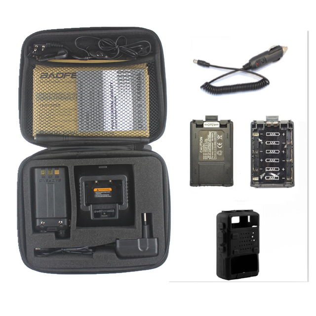 New Baofeng UV-5R two way radio vhf uhf dual band 136-174/400-520MHZ with carring case battery case car charger soft case