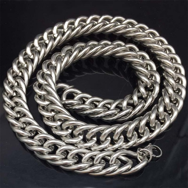 14mm Miami Cuban Chains For Men Hip Hop Jewelry Wholesale Silver Color  Thick Heavy Stainless Steel Long Big Chunky Necklace Gift b8534d4a4
