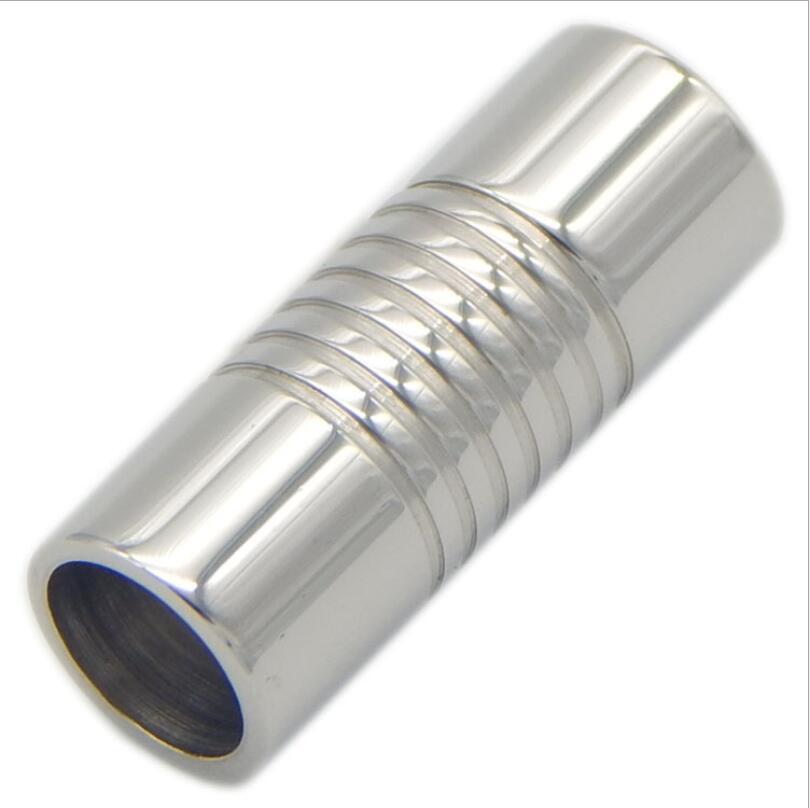 5ae21cfe4dd7 5 unids Acero inoxidable cierres magnéticos ronda tono plata conector fit  2 3 4 5  6 7 8mm Cordón de cuero pulseras hallazgos Z21