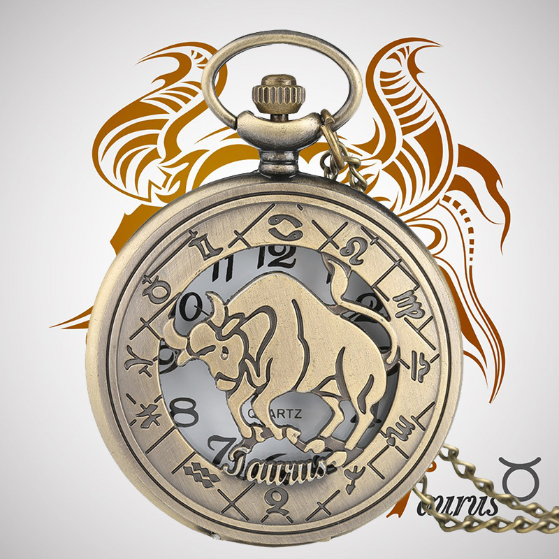 Taurus Pendant Cattle Case Watches For Men Women Quartz Pocket Watch Vintage Popular Constellations Clock Necklace With Chain