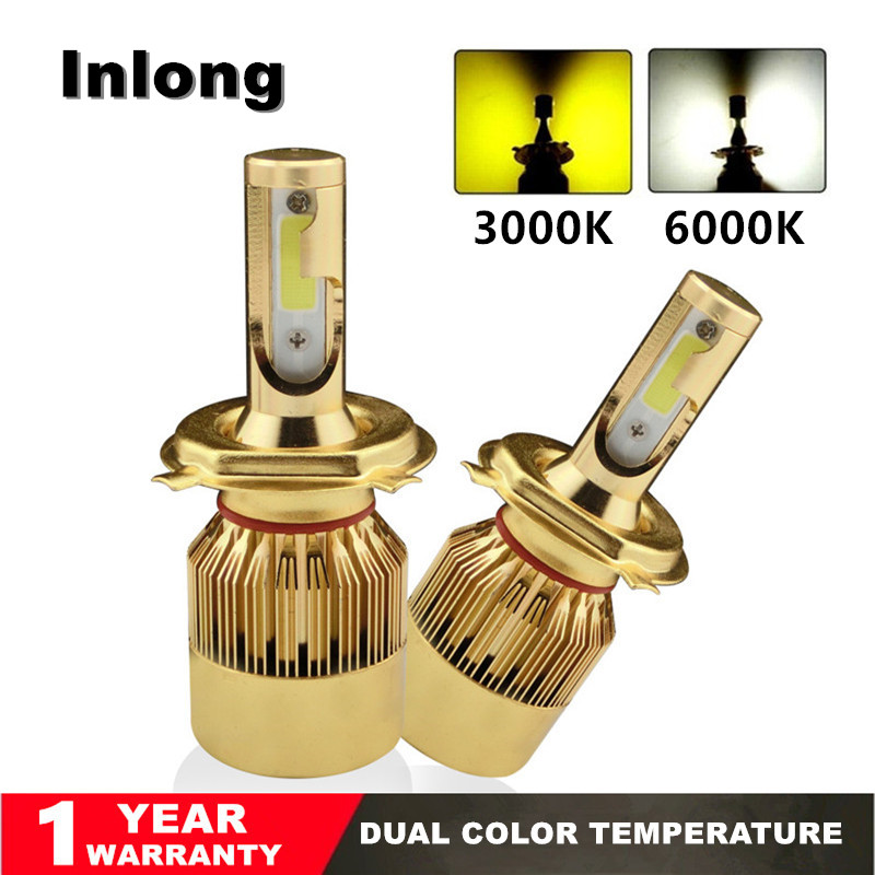 Inlong 2pcs H4 LED H7 H11 H8 H1 H3 9006 9005 Headlight Light Bulbs 72W 8000LM 3000K 6000K Auto Headlamp Led Lamp Car Accessories car lights led 6000k 8000lm cob headlight bulbs lamp for auto h7 h1 h11 h4 headlamp bulbs lamps car light accessories styling