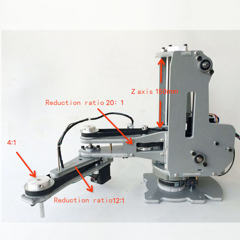 Numerical control mechanical arm/Harmonic reducer/Stepper motor/Four shaft palletizing robot manipulator scara robot mechanical arm hand manipulator 4 axis stepper motor assembled