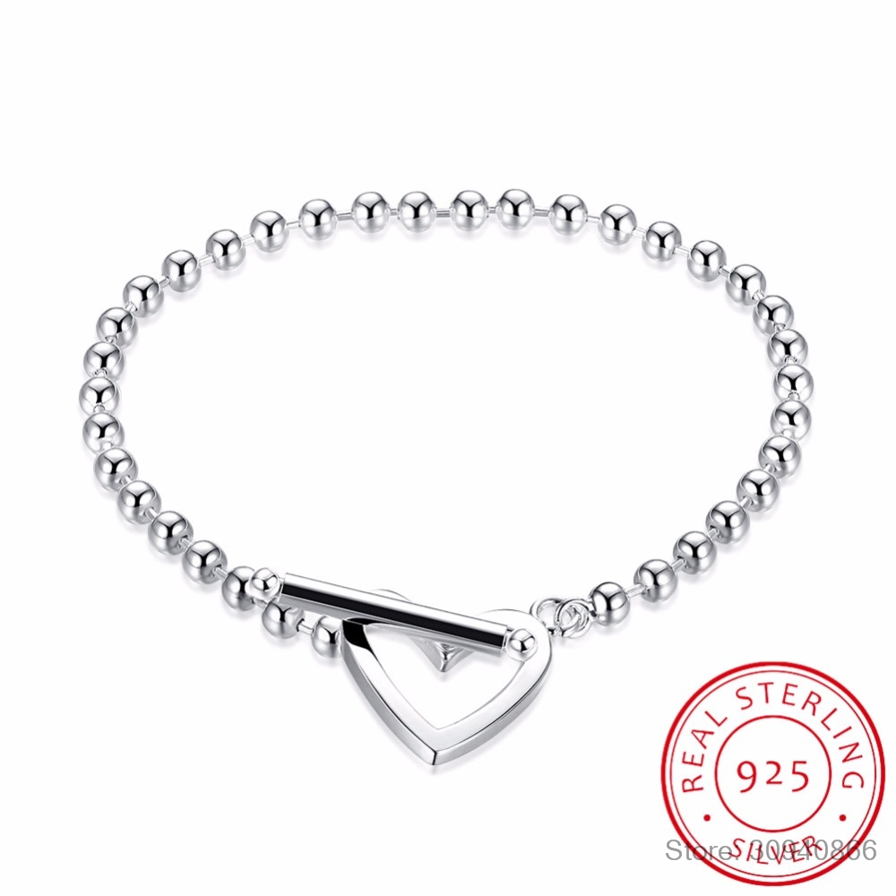 100% 925 Solid Real Sterling Silver Fashion Beads Heart Star Bracelet 20cm For Teen Girls Lady Gift Women Jewelry DS1014