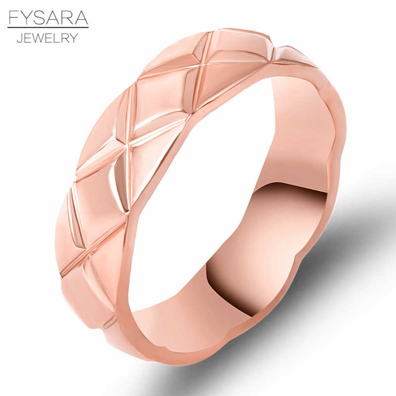 FYSARA Luxury Brand Cross Intersect Mesh Rings For Female Titanium Steel Midi Silver Color Rings Wedding Couple Love Finger Ring
