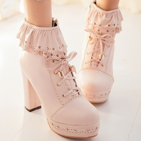 winter autumn women boots Japanese sweet lolita  falbala hollow-out waterproof Taiwan thick high-heeled shoes big size 34-43