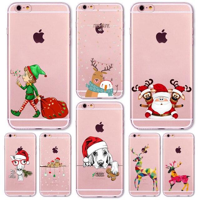 Новий Прекрасний Різдво Новий Рік Soft Phone Чохол Для iPhone 7 7 plus Подарунок Собака Оленів Тварин Капа Celular
