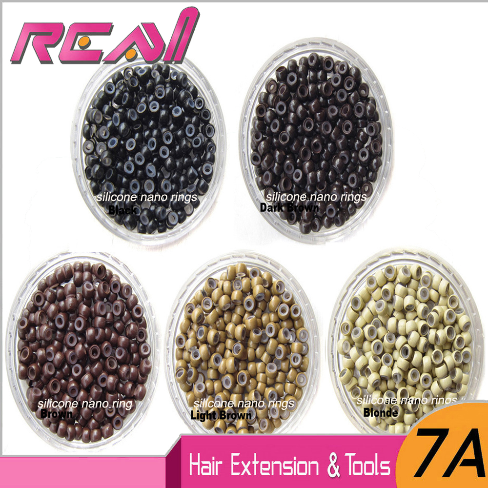 1000pcs/jar Silicone Nano Rings Beads For Dreadlock / Nano Micro Rings Links For Fusion Keratin Human Hair Extensions 5 Colors