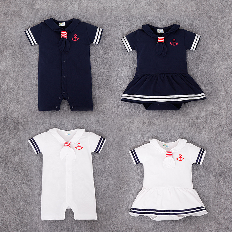 Baby Dress Rompers Hot Sale Casual Newborn Navy Style Clothing Baby Boy Girl Jumpsuits Summer Short-Sleeve Sailor Outfit Cothes