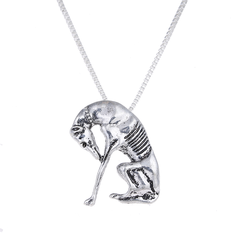 Antique Silver Thinking Statue Greyhound Necklace Dog Pendant Whippet Necklaces Choker Halloween Gift