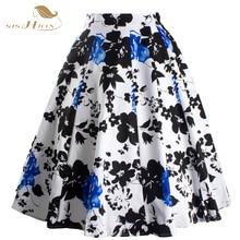 Midi Skirt Sishion 2017 Womens 50s Style Vintage Summer Maxi Skirt faldas Floral Print Tutu Faldas Elegant Skater Skirts VD0020