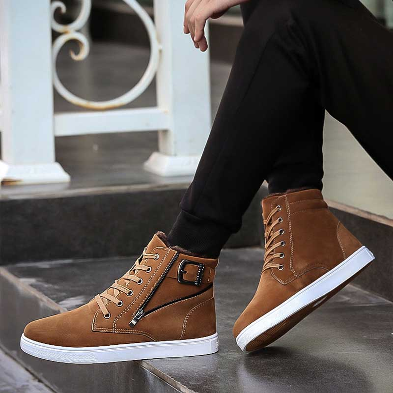 Basic Boots Men's Shoes Masorini 2019 New Mens High-top Shoes Zipper Design With Flat Top Quality Mens Feet Wearing Mens Shoes Ww-767