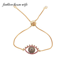 Luxury Micro Pave Zircon Evil Rhinestone Hollow Eye Bracelet For Women  Gold Adjustable Copper Bracelets Chian Jewelry LB0079