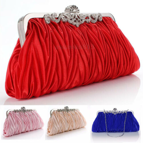 Ladies Handbags Clutch Wedding-Purse Satin Evening-Bag Pleated-Day Crystal Party Women title=