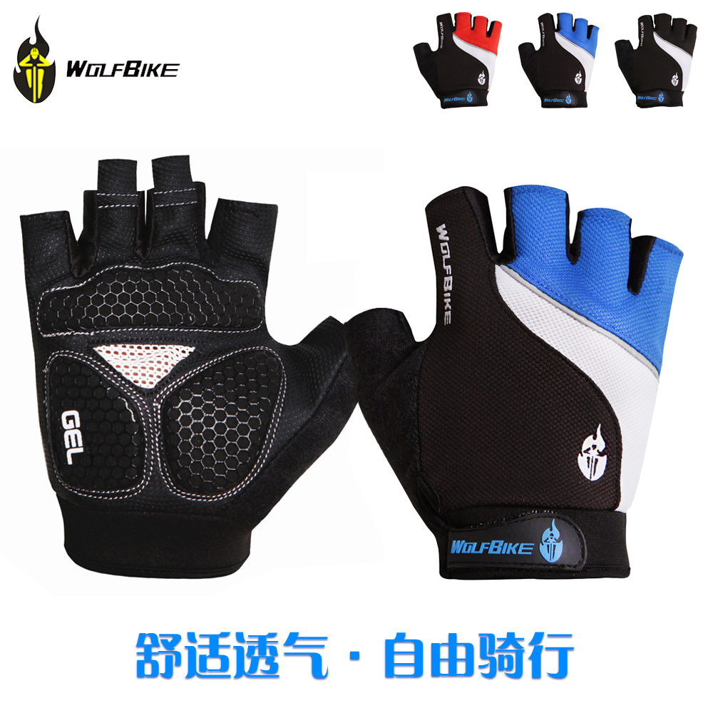 Motorcycle gloves half finger - Wolfbike Non Slip Mtb Motorcycle Cycling Bike Bicycle Racing Riding Breathable Gel Silicone Pad Cycling Half Finger Gloves