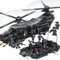 1351 шт. большой Legoings модель строительные блоки Наборы SWAT Team транспортный вертолет SWAT полиции города игрушки для Для детей подарок