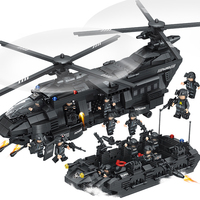 1351pcs Large Legoings Model Building Blocks Kits SWAT Team Transport Helicopter SWAT City Police Toys for Children Kids Gift