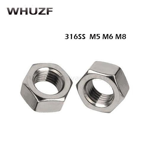 10//20Pcs M1.6//M2//M2.5//M3//M4//M5-M14 201//304//316 Stainless Steel Hex Full Nuts