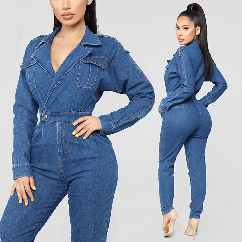 Hot Style Sexy Women S Deep V Wash Water Cowboy Jumpsuits Standard Code Of Europe And America