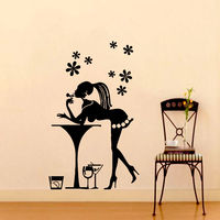 Girl on Bar Wall Decals Cafe Decal Vinyl Sticker Kitchen Home Decor
