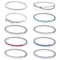 NEW 100% 925 Sterling Silver Drop gum bracelet Clear CZ Charm Bead fit pendant DIY crystal Bracelets The factory wholesale