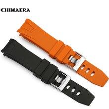 CHIMÈRE 22mm Orange Noir Bracelet En Caoutchouc Étanche Plongée Curved End Bande pour Omega Seamaster Planet Ocean Speedmaster 20