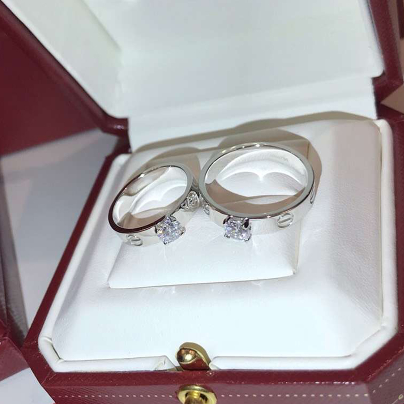Luxury brand design 925 Sterling Silver Jewelry For Women Wedding love couple Ring White Gold Color promise engagement Rings gold and silver forever love steel couple ring for men 8 size