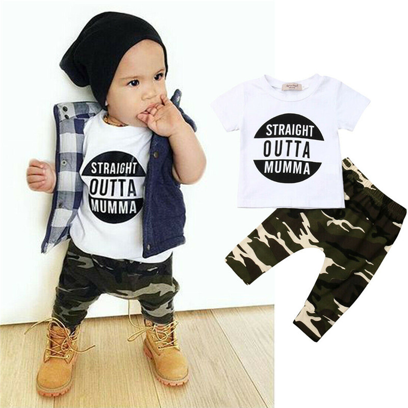 Pudcoco Newborn Baby Boys Clothing Short Sleeve T Shirt +Long Camouflage Pants Cotton Outfits New Born Clothes Set