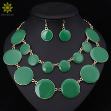 Enamel Jewelry Sets For Women Gold Plated Classic Fashion Round Necklace Earring African CostumeJewellery Set 7Color