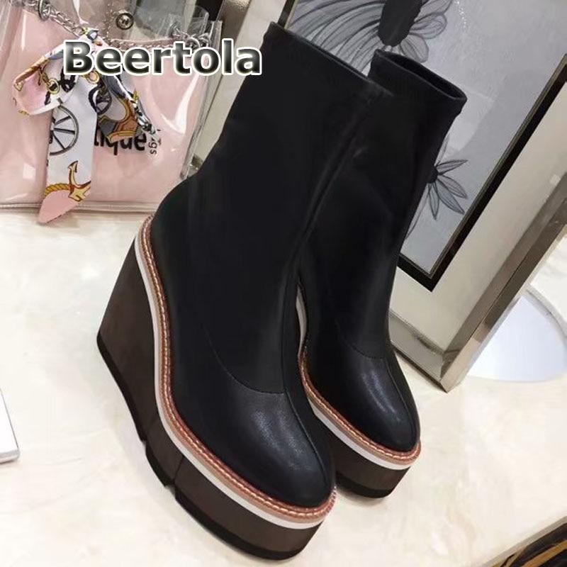 Beertola Chaussures Bottes Haute Wedge Short De Boots forme Plate Cuissardes Automne Cheville Mince long 2018 Mode Femmes Noir Boots rqcxWrFE