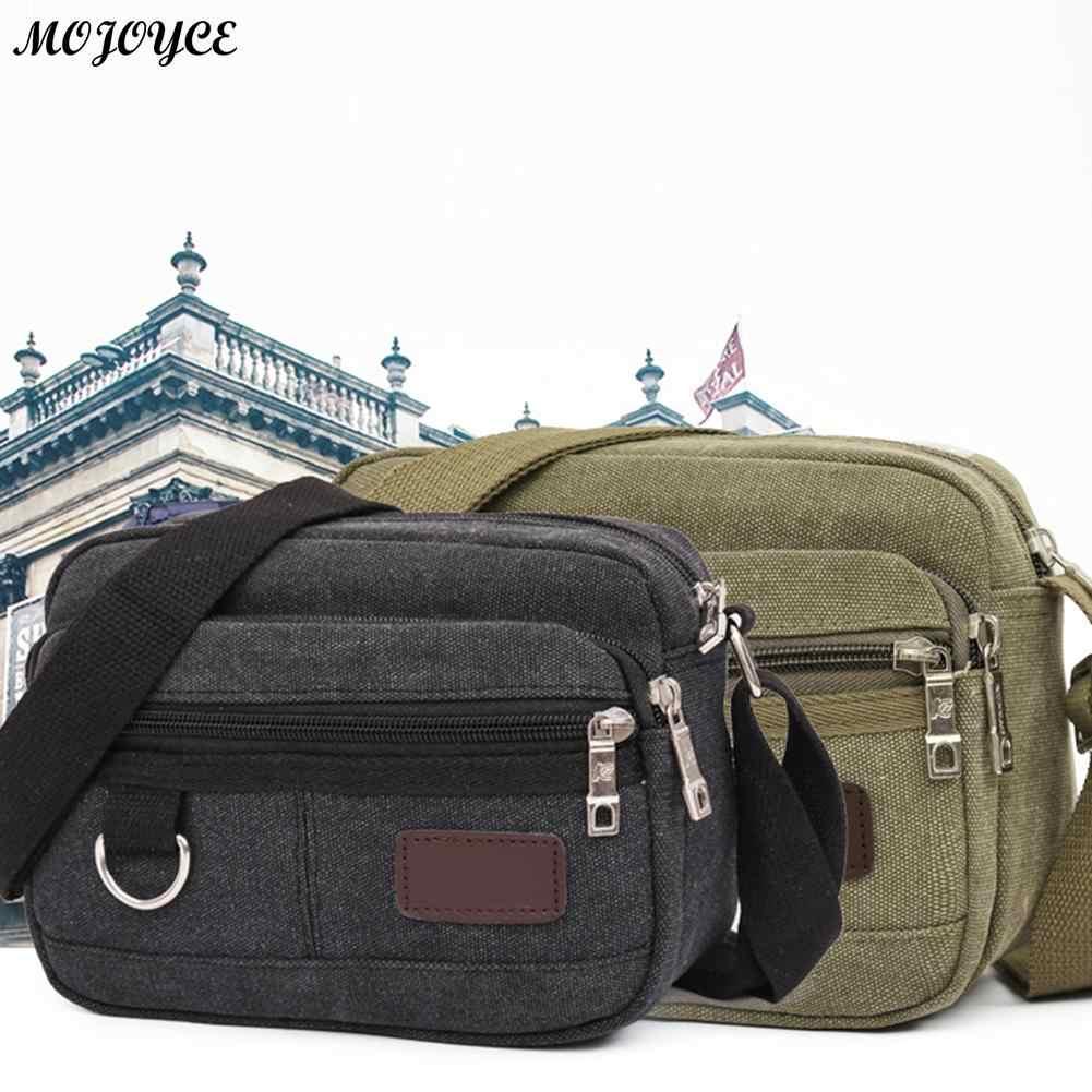 Mojoyce homens lona mini mensageiro saco casual multi-camada ombro crossbody saco simples cor sólida bolsa de viagem saco de negócios