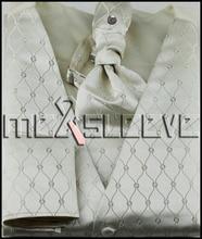 new arrival free shipping ivory fancy wedding waistcoat(vest+ascot tie+cufflinks+handkerchief)