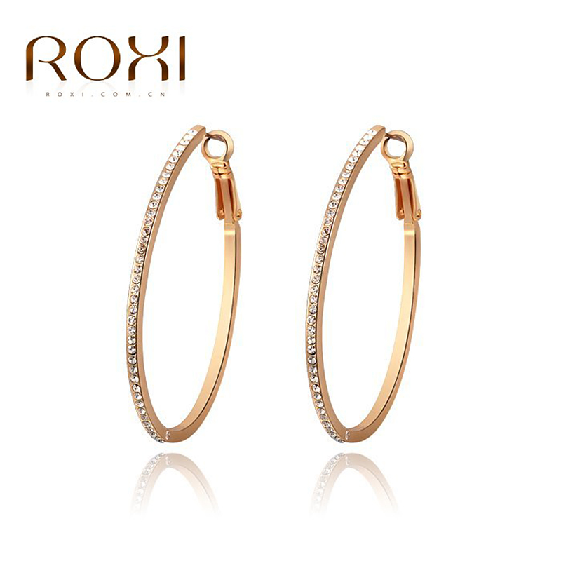 roxi women stud earrings lucky circle crystal earrings for women boucle d 39 oreille rose gold. Black Bedroom Furniture Sets. Home Design Ideas
