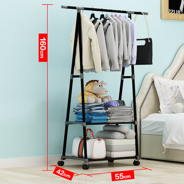 Actionclub Multifunction Triangle Simple Coat Rack Stainless Steel Removable Clothes Hanging Hanger Floor Stand Coat Rack Wheels 2