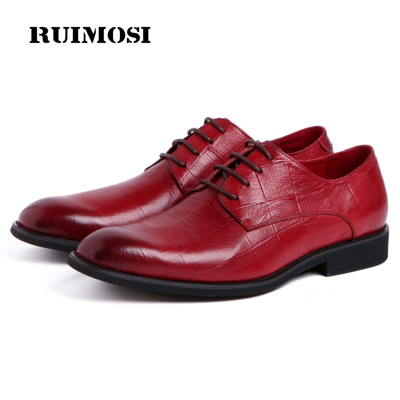 RUIMOSI Formal Man Derby Wedding Bridal Dress Shoes Genuine Leather Designer Oxfords Luxury Brand Men's Handmade Footwear HD67