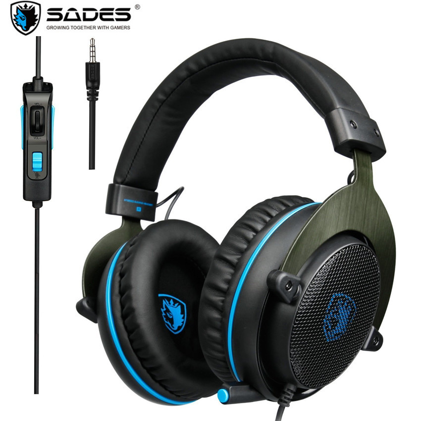 SADES R3 PS4 Gaming Headset Bass Surround Stereo Casque Over Ear PC Game Headphone with Microphone for Computer Ps4 Laptop Phone g1100 3 5mm pro gaming headset headphone for ps4 laptop crack pattern led led blue black red white